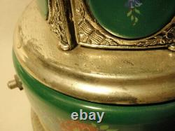 Reuge Italy Love Story Music Box Cigarette Carousel Flowers Green AS-IS