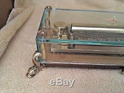 Reuge Music Box 144 notes, 3 melodies in glass, dolphin feet. Watch Video