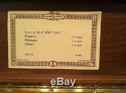 Reuge Music Box 3.72 Note Movement Box J. S. Bach Rondeoulu, Polonaise, Minu