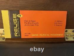Reuge Music Box CH 3/72 3 Parts Claire De Lune Blue Danube Anniversary
