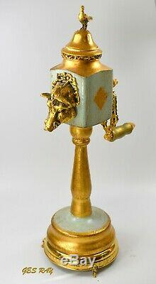 Reuge Music Box Musical Pepper Mill Grinder Brass Boars Head and Pheasan Vintage