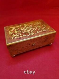 Reuge Music Box in Burl Wood Case with 36 Note 2 Tune Movement. Hear it Play
