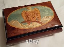 Reuge Music Hand Inlaid Music Box- God Bless America or Climb Every Mountain