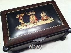 Reuge Music Inlaid Music Box With Movement-Butterfly Kisses or Edelweiss