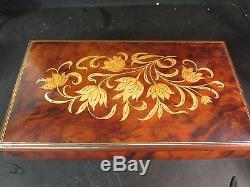Reuge Music Jewelry Box Italian Inlaid Wood Box The Rose
