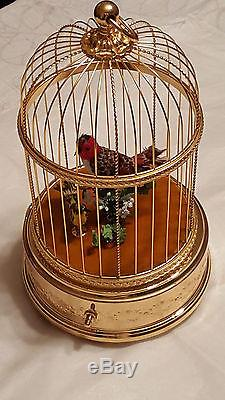 Reuge Music Rare Singing Birds Cage With Clock