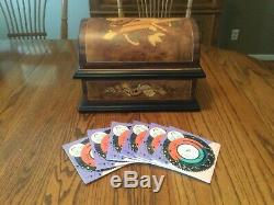 Reuge Music Treasure Chest 4 1/2 Disc Movement Music Box With Set Of 6 Discs
