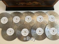 Reuge Music Treasure Chest 4-1/2 Disc Movement Music Box With Set of 9 Discs