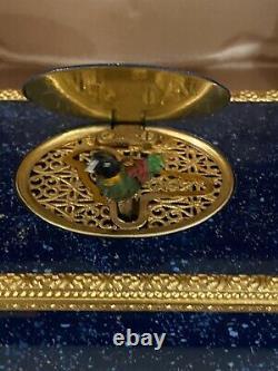 Reuge Music Very Rare Lapis Lazuli Mechanical Singing Bird Box Swiss