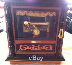 Reuge Music Vintage Old Railroad Station Box With Dancing Doll-3.72 Note Movem