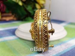 Reuge Musical Miniature Austrian brooch pendant Gold Filigree Musical