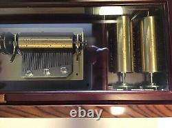 Reuge Outstanding Hand Inlayed Wood Interchangeable 5 Cylinder 50 Note Music Box