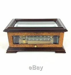 Reuge Romance Music Box 72 Note Swiss Movement Wind Up Crystal Burled Walnut