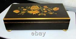 Reuge Sainte Croix 12 Tune 60 Note Carillon Music Box Arte Intarsio Inlaid Case