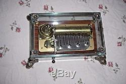 Reuge Sainte Croix CH 3/50 Glass Music Box Brass Dolphin Feet Switzerland