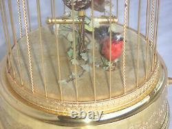 Reuge Singing Bird Music Box Clock Automat Singvogelkäfig Spieluhr Spieldose Uhr