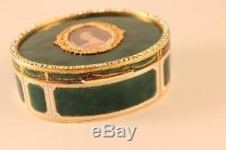 Reuge St Croix Music Box Napoleonic Josephine Portrait Enamel Oval Jewelry Case