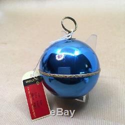 Reuge Swiss Made Musical Mechanical Christmas Gold Ball Ornament, Silent Night
