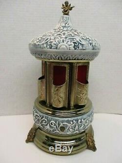 Reuge Swiss Music Box Porcelain Carousel ITALY Cigarette Cigar Lipstick Holder