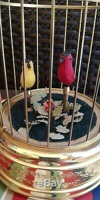Reuge Swiss Singing Automaton 2 Bird Cage Music Box Working! Watch Video! Clean