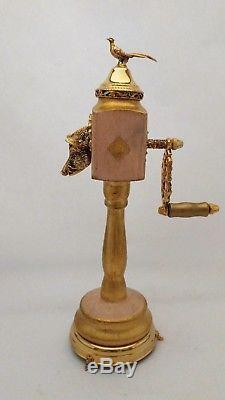 Reuge Switzerland Music Box Pepper Mill Grinder With Wild Boar Spout & Pheasant