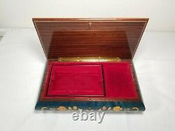 Reuge Wood Inlay Blue Large Music Box Italy12x7 18 Variations of Paganini Song