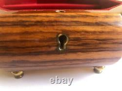Reuge Yellow Rose of Texas Octagon Music Box Made in Italy w Key EUC WATCH VIDEO