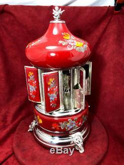 Silver Plate & Enamel Italian Reuge Musical Carousel Edelweiss Love Story-video