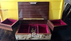 Sorrento Inlaid Wood Reuge Swiss Musical Drawer Jewelry Box
