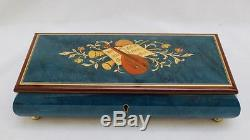 Sorrento Italy Inlaid Wood Blue Music Box Reuge Swiss Musical Movement Lute 11