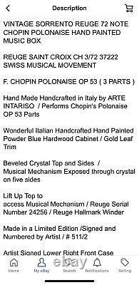 Sorrento Reuge Music Box 72 Note Chopin Polonaise Arte Intariso Italy