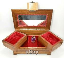 Swiss Reuge Dancing Ballerina Music Box Jewelry Wood Inlay Case Vintage W Key