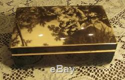 Swiss Reuge Mirrored Courting Couple Music Box 3/36 Note 3 Songs 6 x 4 x 3