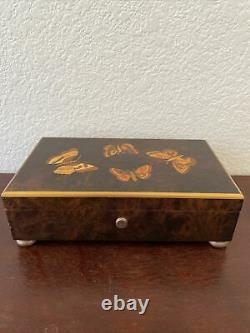 Swiss Reuge Music Box 4/50 Note Burl Wood withButterflies