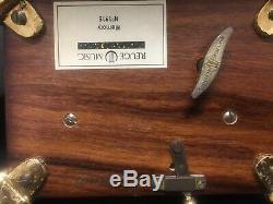 Swiss Reuge brass Musical box Dolphin legs, glass 2/50 movement note