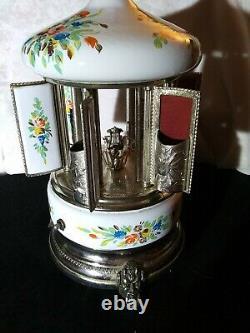Toleware SWISS Music Box Carousel Lipstick/Cigarette Holder Italy Reuge