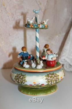 VINTAGE Kathe Wohlfahrt KINDERTRAUM Music Box Reuge Spring Dance wooden