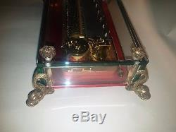 VINTAGE REUGE 72 MUSIC BOX, CRYSTAL CLEAR GLASS PLAYS Tchaikovsky