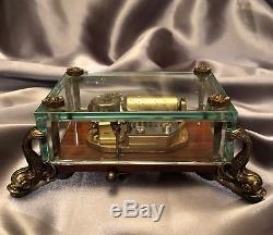 VINTAGE REUGE BEVELED GLASS MUSIC BOX with Dolphin Feet