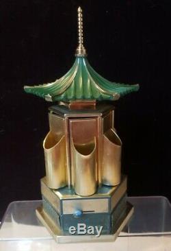 VINTAGE REUGE CAROUSEL music box lipstick/cigarette holder Japanese pagoda works