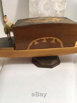 VINTAGE REUGE DANCING BALLERINA Gondola WOODEN Cigarette CASE MUSIC BOX Rare