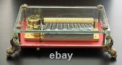 VINTAGE REUGE MUSIC BOX SAINTE CROIX CRYSTAL CLEAR GLASS 3/72 With DOLPHIN LEGS