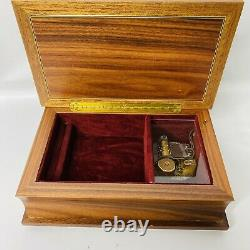 VINTAGE REUGE WOODEN INLAID MUSIC JEWELRY BOX EDELWEISS No. 4287 Velvet Lined