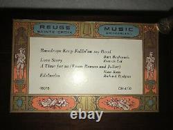 VINTAGE Reuge Sainte Croix Ornate Music Box with Victorian Painted Panels Walnut