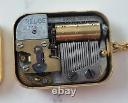 VINTAGE Reuge Swiss Made Music Box Key Chain. Gold tone, Flowers with Blue Gems