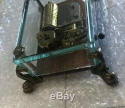 VINTAGE SWISS REUGE MUSIC BOX BEVELED CRYSTAL GLASS CASE With DOLPHIN FEET 1/36