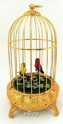 VINTAGE SWISS REUGE SINGING BIRD CAGE MUSIC BOX 1986 Lucerne Switzerland