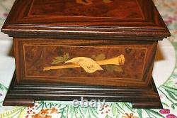 VINT 1960-70s REUGE SWISS MUSIC BOX 72 / 3 INLAID MARQUETRY BURL WALNUT ITALY