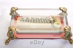 VIntage Reuge Music Box CH 3/72 Crystal Glass withBrass Dolphin Feet 3 song