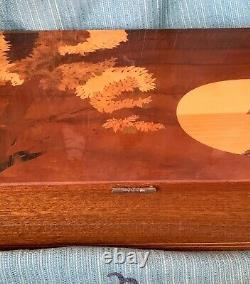VTG Large Italian Marquetry Jewelry Music Box, 1960s, Plays Sunrise, Sunset
